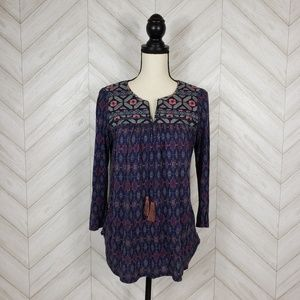 ONE SEPTEMBER Multicolored Embroidered Tunic Top